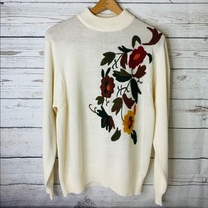 Darian 1980s Embroidered Floral Sweater